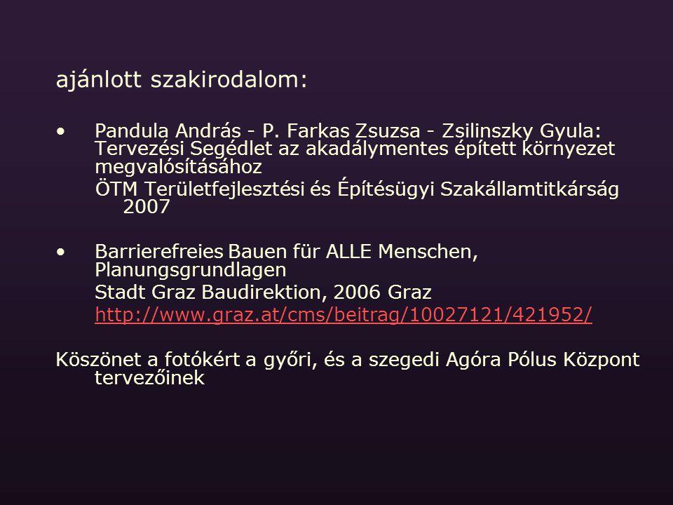 ajánlott szakirodalom: Pandula András - P. Farkas Zsuzsa - Zsilinszky Gyula: Tervezési Segédlet az akadálymentes épített környezet megvalósításához ÖT