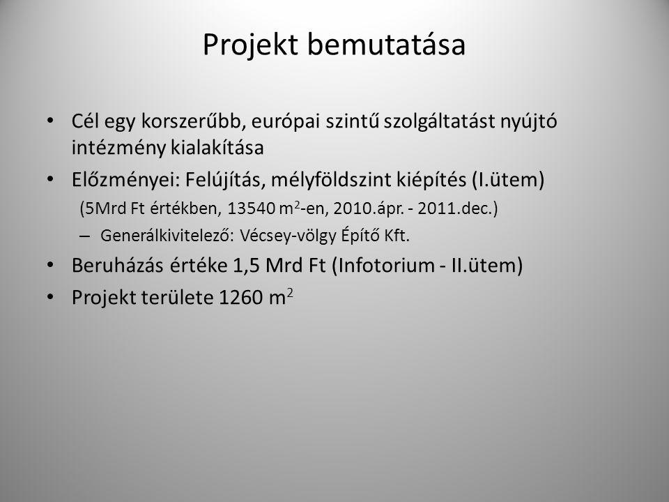 Projekt bemutatása Cél egy korszerűbb, európai szintű szolgáltatást nyújtó intézmény kialakítása Előzményei: Felújítás, mélyföldszint kiépítés (I.ütem