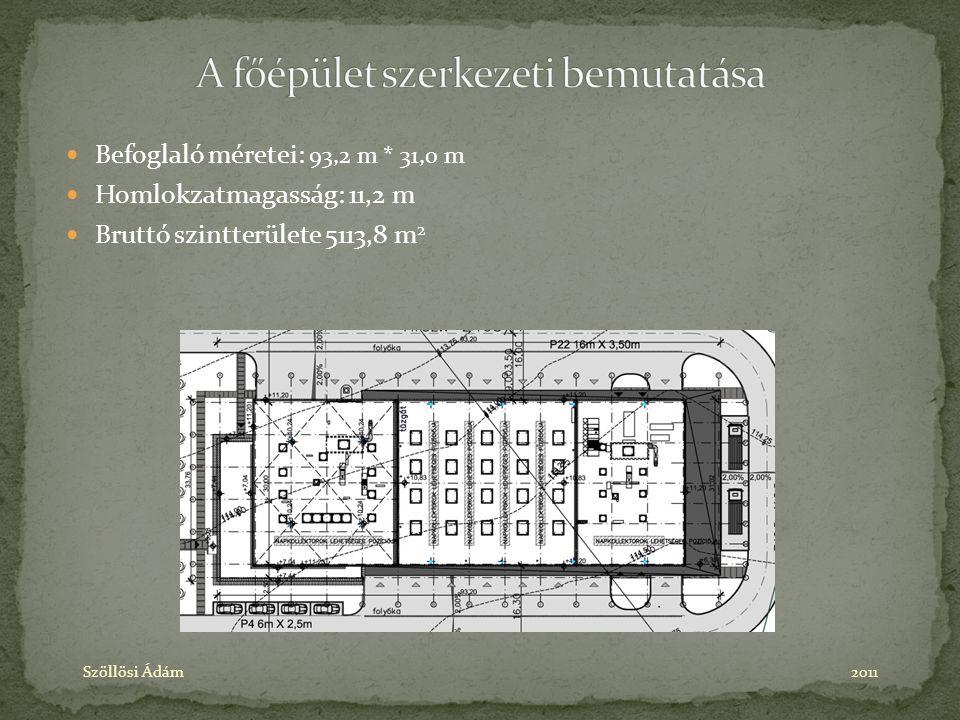 Befoglaló méretei: 93,2 m * 31,0 m Homlokzatmagasság: 11,2 m Bruttó szintterülete 5113,8 m 2 Szöllösi Ádám2011