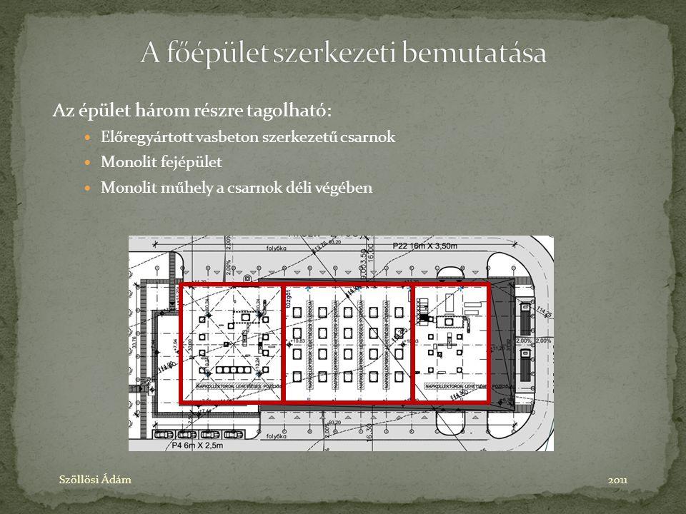 Az épület három részre tagolható: Előregyártott vasbeton szerkezetű csarnok Monolit fejépület Monolit műhely a csarnok déli végében