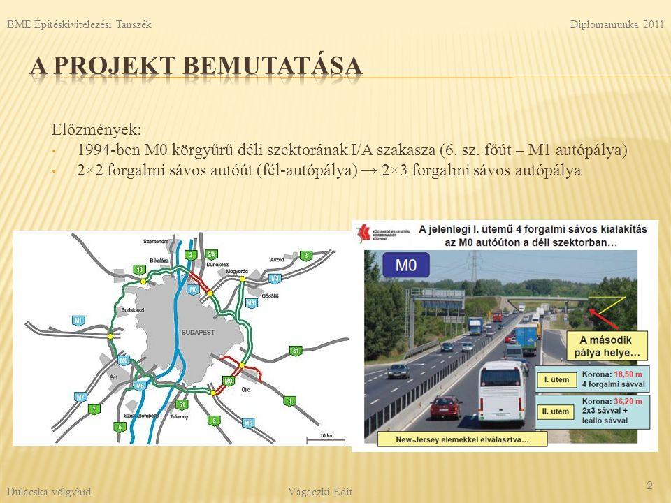  7 napos ciklusok  Egy közbenső zöm gyártásának ütemezése: Felszerkezet: 13 Diplomamunka 2011 Vágáczki Edit BME Építéskivitelezési Tanszék Dulácska völgyhíd