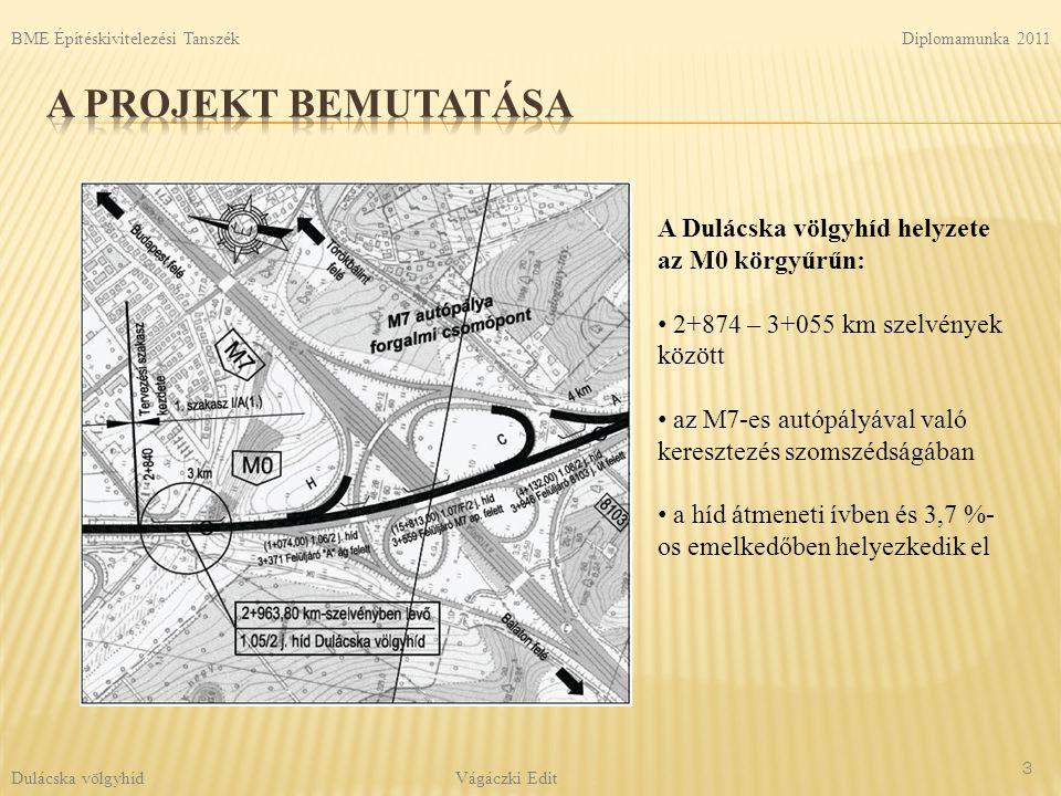 A Dulácska völgyhíd helyzete az M0 körgyűrűn: 2+874 – 3+055 km szelvények között az M7-es autópályával való keresztezés szomszédságában a híd átmeneti ívben és 3,7 %- os emelkedőben helyezkedik el 3 Diplomamunka 2011 Vágáczki Edit BME Építéskivitelezési Tanszék Dulácska völgyhíd