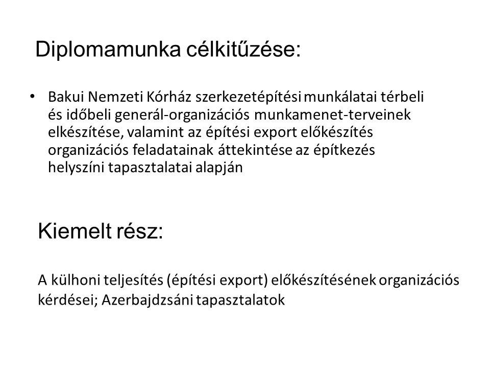 Diplomamunka célkitűzése: Bakui Nemzeti Kórház szerkezetépítési munkálatai térbeli és időbeli generál-organizációs munkamenet-terveinek elkészítése, valamint az építési export előkészítés organizációs feladatainak áttekintése az építkezés helyszíni tapasztalatai alapján Kiemelt rész: A külhoni teljesítés (építési export) előkészítésének organizációs kérdései; Azerbajdzsáni tapasztalatok