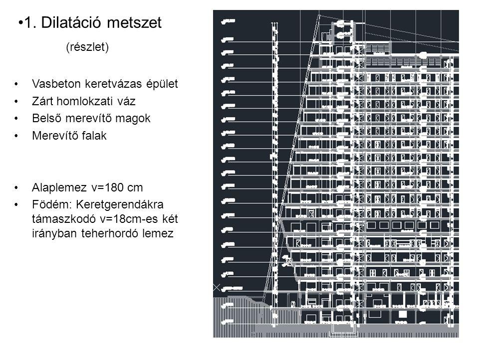 Vasbeton keretvázas épület Zárt homlokzati váz Belső merevítő magok Merevítő falak Alaplemez v=180 cm Födém: Keretgerendákra támaszkodó v=18cm-es két