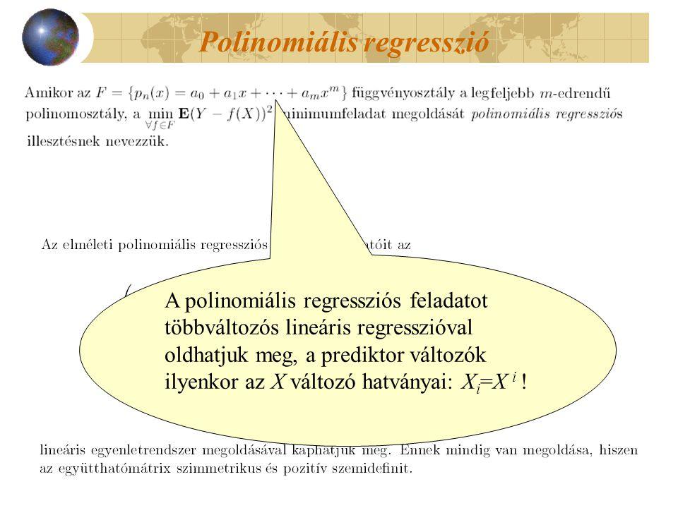 Polinomiális regresszió A polinomiális regressziós feladatot többváltozós lineáris regresszióval oldhatjuk meg, a prediktor változók ilyenkor az X változó hatványai: X i =X i !