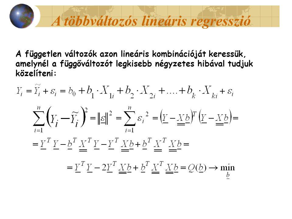 A többváltozós lineáris regresszió A független változók azon lineáris kombinációját keressük, amelynél a függőváltozót legkisebb négyzetes hibával tudjuk közelíteni: