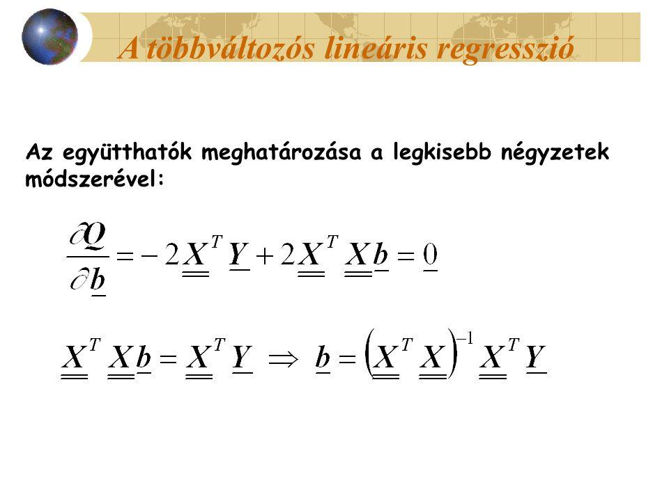 Az együtthatók meghatározása a legkisebb négyzetek módszerével: A többváltozós lineáris regresszió