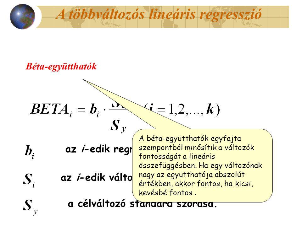 Béta-együtthatók az i-edik regressziós együttható, az i-edik változó standard szórása, a célváltozó standard szórása. A béta-együtthatók egyfajta szem