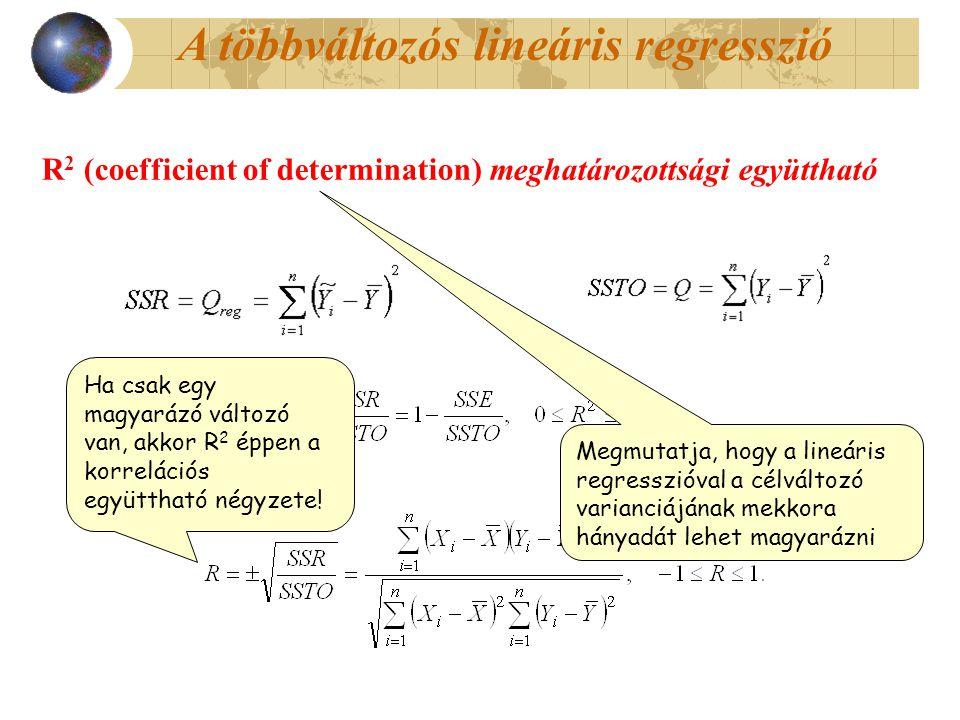 R 2 (coefficient of determination) meghatározottsági együttható Megmutatja, hogy a lineáris regresszióval a célváltozó varianciájának mekkora hányadát lehet magyarázni Ha csak egy magyarázó változó van, akkor R 2 éppen a korrelációs együttható négyzete!