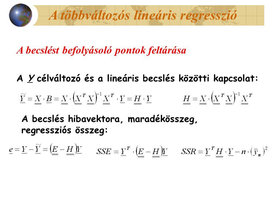 A többváltozós lineáris regresszió A Y célváltozó és a lineáris becslés közötti kapcsolat: A becslés hibavektora, maradékösszeg, regressziós összeg: A becslést befolyásoló pontok feltárása
