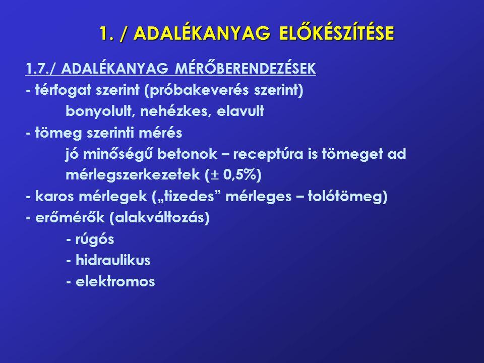 1. / ADALÉKANYAG ELŐKÉSZÍTÉSE 1.7./ ADALÉKANYAG MÉRŐBERENDEZÉSEK - térfogat szerint (próbakeverés szerint) bonyolult, nehézkes, elavult - tömeg szerin