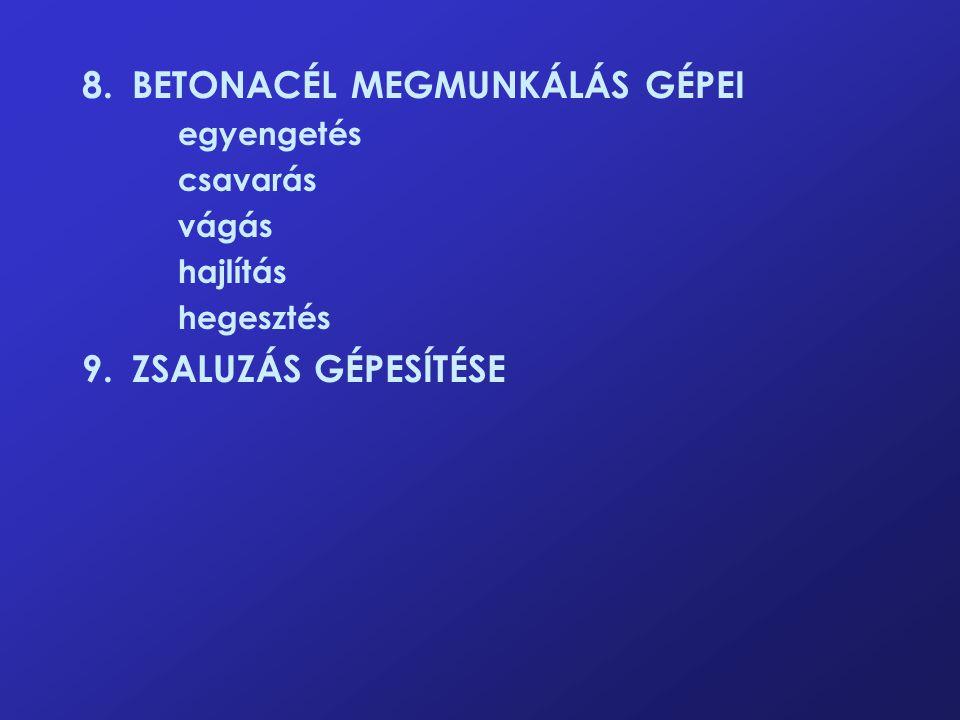 8.BETONACÉL MEGMUNKÁLÁS GÉPEI egyengetés csavarás vágás hajlítás hegesztés 9.ZSALUZÁS GÉPESÍTÉSE