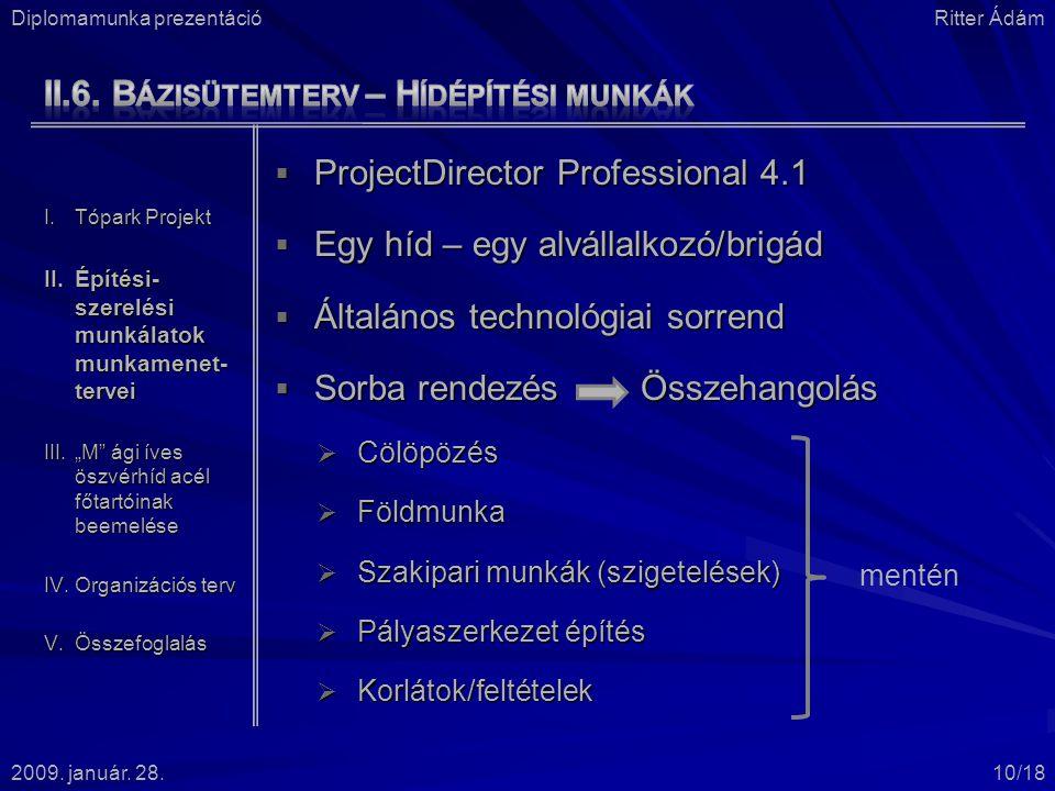  ProjectDirector Professional 4.1  Egy híd – egy alvállalkozó/brigád  Általános technológiai sorrend  Sorba rendezés Összehangolás  Cölöpözés  Földmunka  Szakipari munkák (szigetelések)  Pályaszerkezet építés  Korlátok/feltételek Diplomamunka prezentációRitter Ádám 2009.