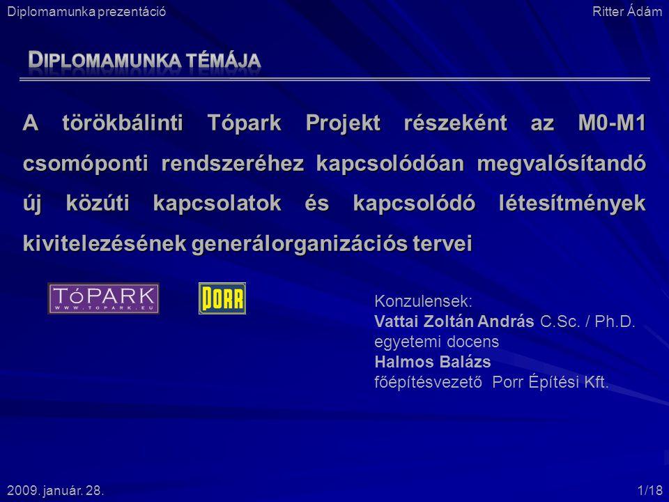 A törökbálinti Tópark Projekt részeként az M0-M1 csomóponti rendszeréhez kapcsolódóan megvalósítandó új közúti kapcsolatok és kapcsolódó létesítmények kivitelezésének generálorganizációs tervei Konzulensek: Vattai Zoltán András C.Sc.