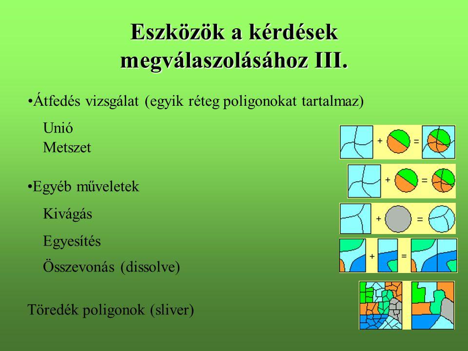 Eszközök a kérdések megválaszolásához III. Átfedés vizsgálat (egyik réteg poligonokat tartalmaz) Unió Metszet Egyéb műveletek Kivágás Egyesítés Össze