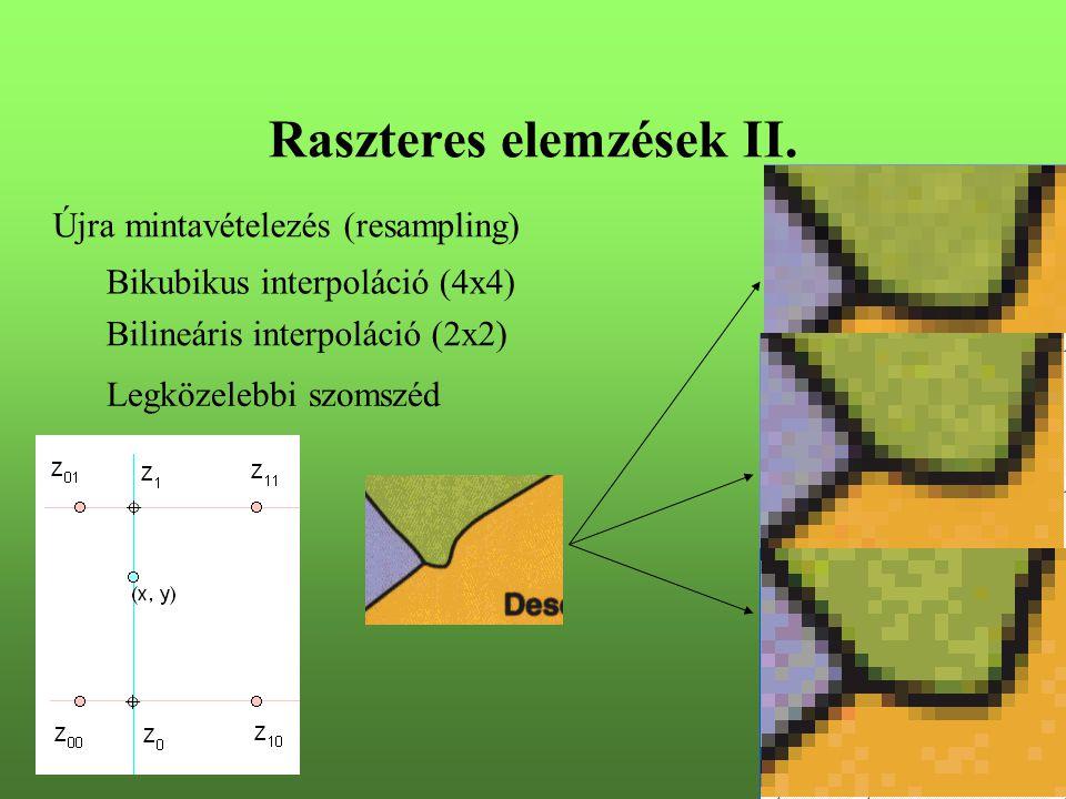 Raszteres elemzések II. Újra mintavételezés (resampling) Legközelebbi szomszéd Bilineáris interpoláció (2x2) Bikubikus interpoláció (4x4)