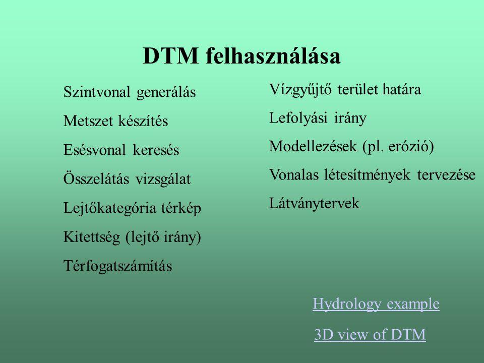 DTM felhasználása Szintvonal generálás Metszet készítés Összelátás vizsgálat Lejtőkategória térkép Kitettség (lejtő irány) Vízgyűjtő terület határa Lefolyási irány Modellezések (pl.