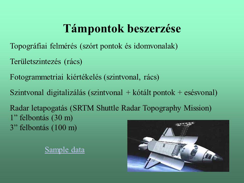 Támpontok beszerzése Topográfiai felmérés (szórt pontok és idomvonalak) Fotogrammetriai kiértékelés (szintvonal, rács) Szintvonal digitalizálás (szintvonal + kótált pontok + esésvonal) Radar letapogatás (SRTM Shuttle Radar Topography Mission) 1 felbontás (30 m) 3 felbontás (100 m) Területszintezés (rács) Sample data
