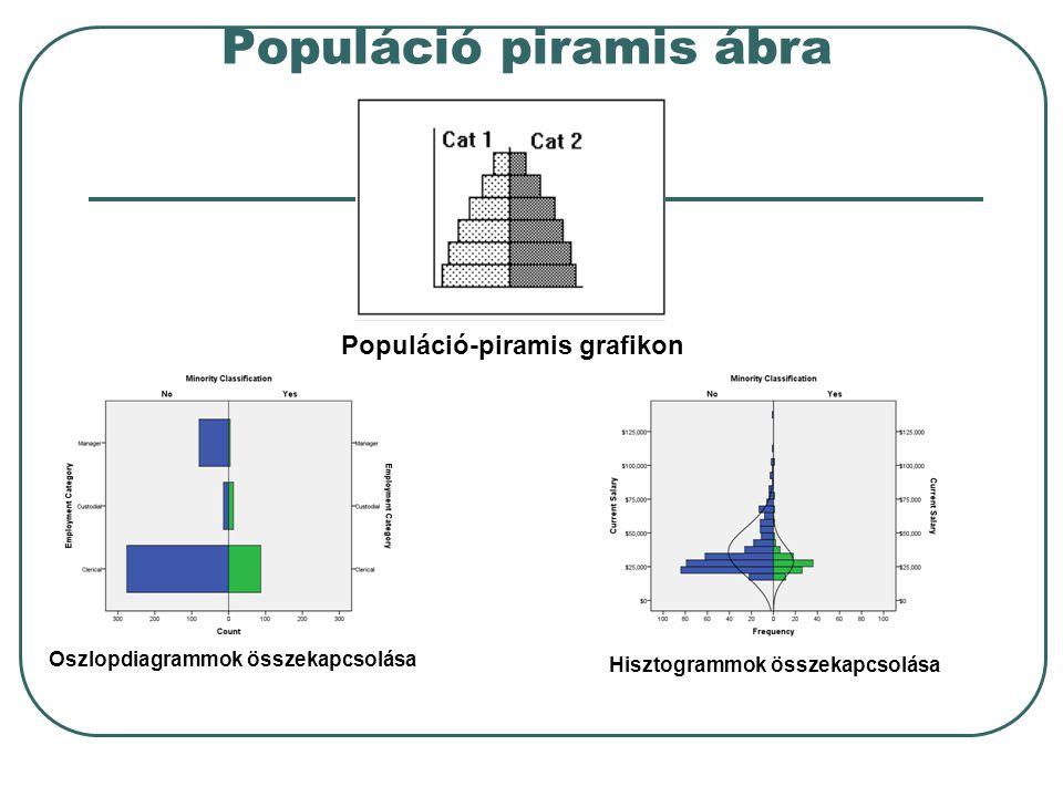 Populáció piramis ábra Populáció-piramis grafikon Oszlopdiagrammok összekapcsolása Hisztogrammok összekapcsolása