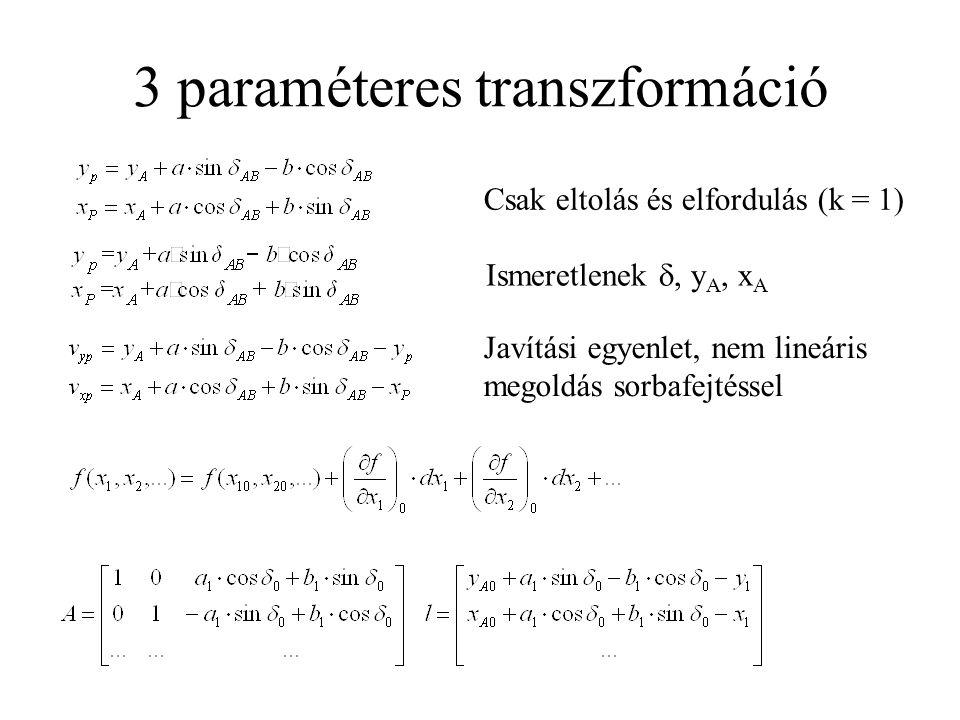 3 paraméteres transzformáció Csak eltolás és elfordulás (k = 1) Ismeretlenek , y A, x A Javítási egyenlet, nem lineáris megoldás sorbafejtéssel