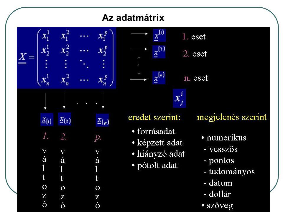 A mátrix egy adott sora (esete) a többváltozós minta egy eleme