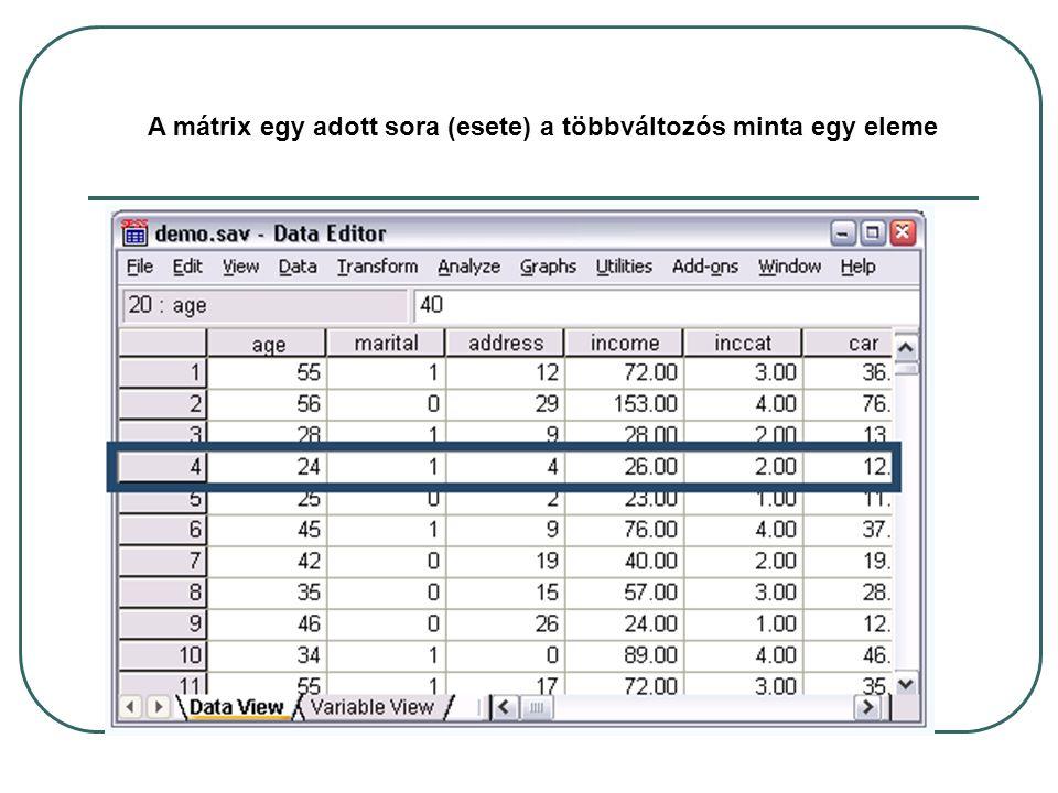 A mátrix minden oszlopa (változója) statisztikai mintarealizáció