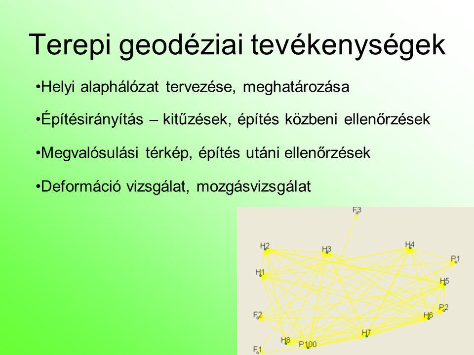 Terepi geodéziai tevékenységek Helyi alaphálózat tervezése, meghatározása Építésirányítás – kitűzések, építés közbeni ellenőrzések Megvalósulási térkép, építés utáni ellenőrzések Deformáció vizsgálat, mozgásvizsgálat