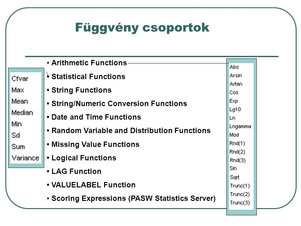 Függvény csoportok Arithmetic Functions Statistical Functions String Functions String/Numeric Conversion Functions Date and Time Functions Random Variable and Distribution Functions Missing Value Functions Logical Functions LAG Function VALUELABEL Function Scoring Expressions (PASW Statistics Server)