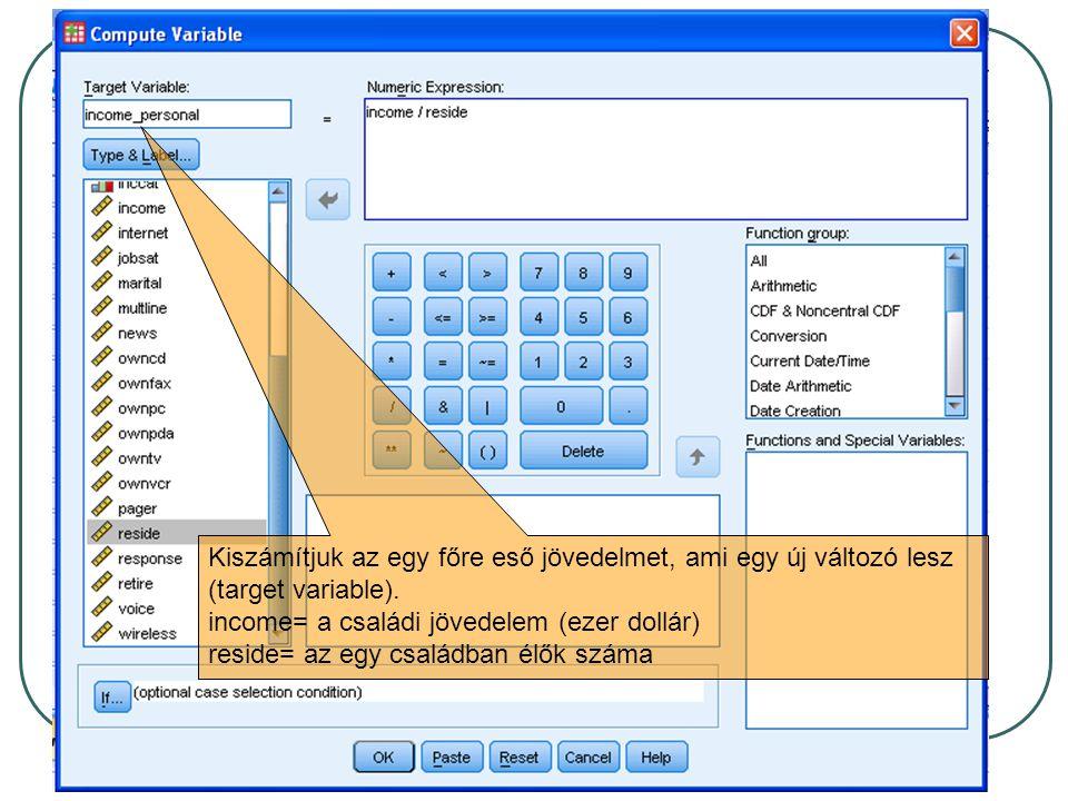 A kifejezés képletének megadásakor használhatjuk a kalkulátort és a változó listát.