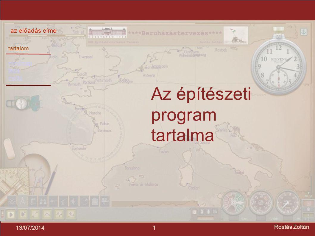 tartalom mindmap tézis mottó az előadás címe 113/07/2014 Rostás Zoltán Az építészeti program tartalma