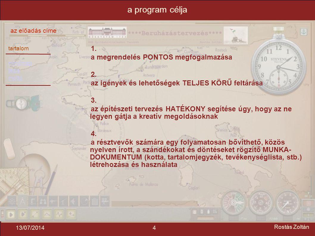 tartalom mindmap tézis mottó az előadás címe 413/07/2014 Rostás Zoltán a program célja 1.