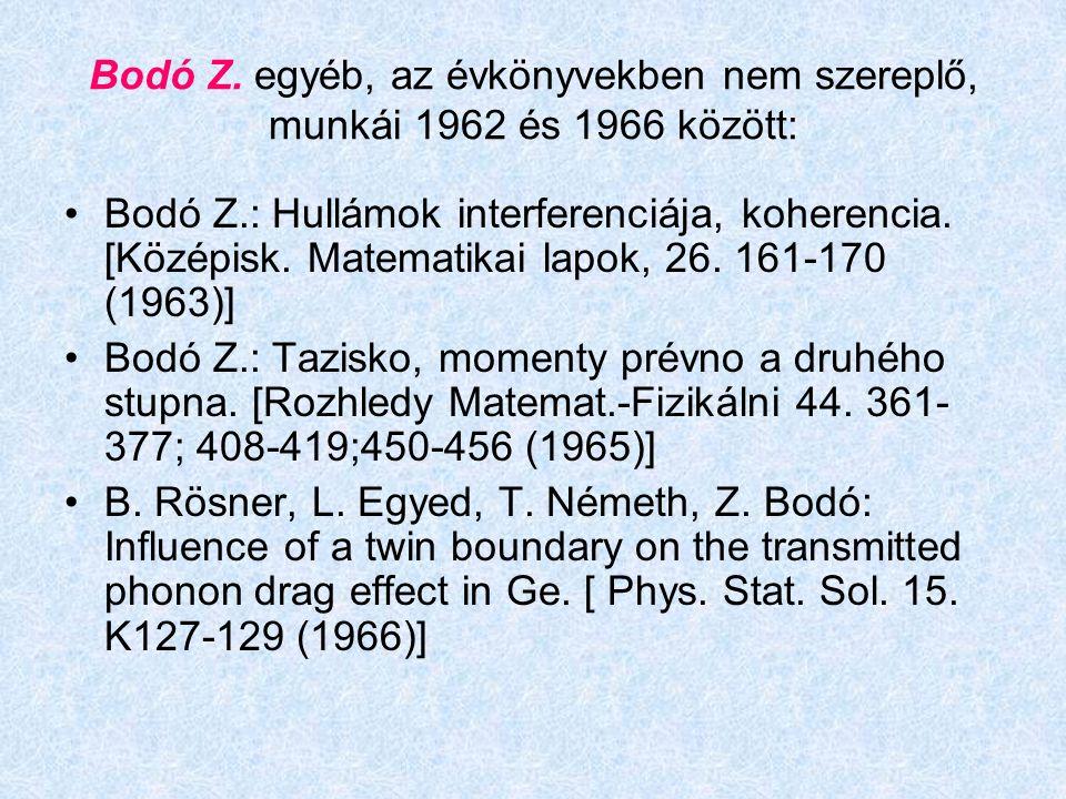 Bodó Z. egyéb, az évkönyvekben nem szereplő, munkái 1962 és 1966 között: Bodó Z.: Hullámok interferenciája, koherencia. [Középisk. Matematikai lapok,