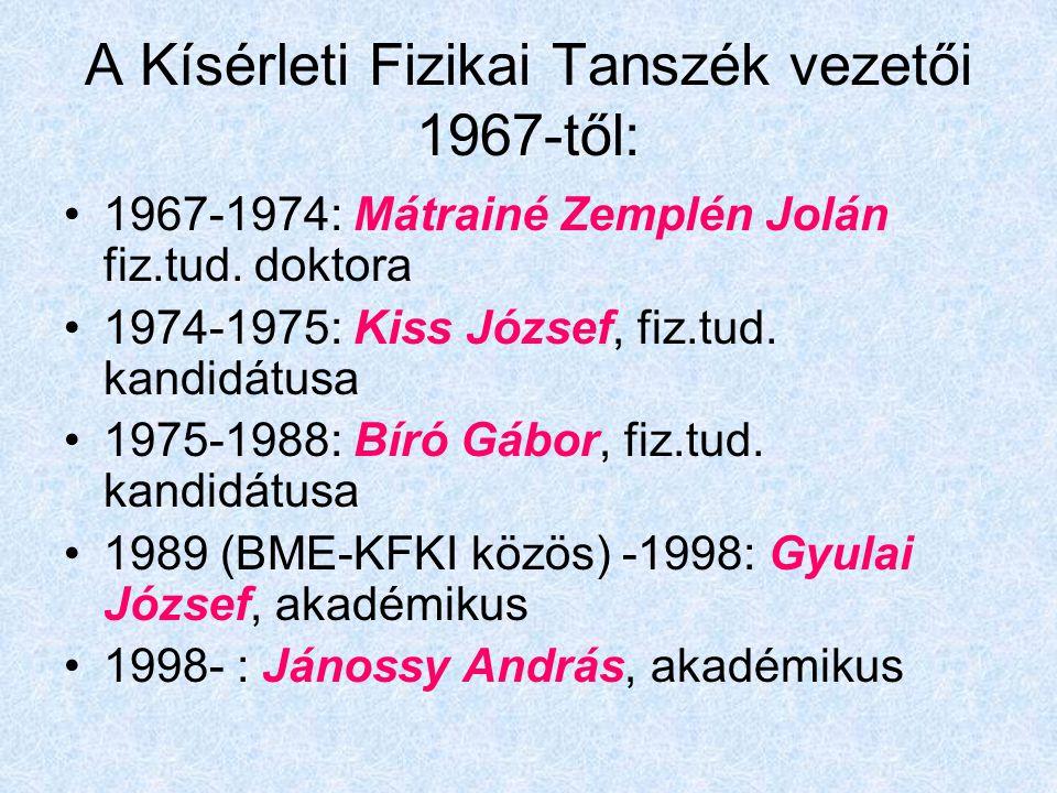 A Kísérleti Fizikai Tanszék vezetői 1967-től: 1967-1974: Mátrainé Zemplén Jolán fiz.tud. doktora 1974-1975: Kiss József, fiz.tud. kandidátusa 1975-198