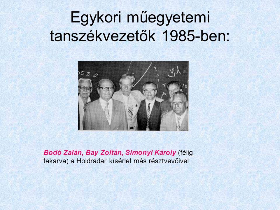 Egykori műegyetemi tanszékvezetők 1985-ben: Bodó Zalán, Bay Zoltán, Simonyi Károly (félig takarva) a Holdradar kísérlet más résztvevőivel