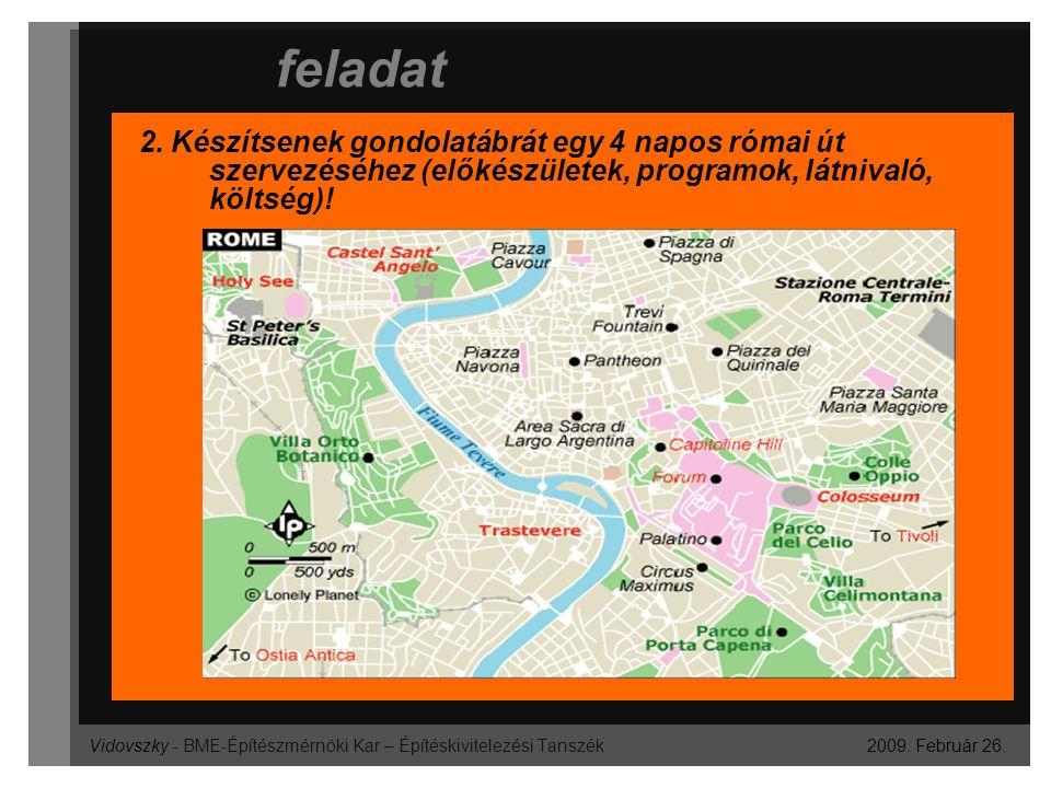Vidovszky - BME-Építészmérnöki Kar – Építéskivitelezési Tanszék feladat 2009. Február 26. 2. Készítsenek gondolatábrát egy 4 napos római út szervezésé