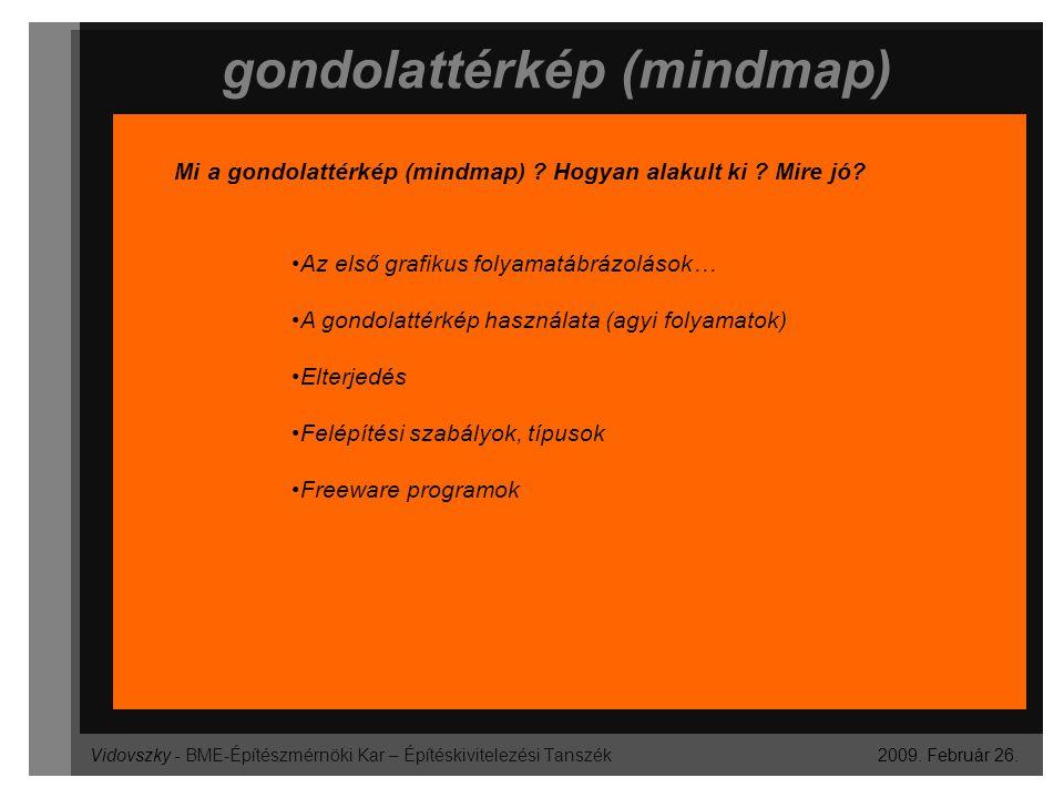 Vidovszky - BME-Építészmérnöki Kar – Építéskivitelezési Tanszék gondolattérkép (mindmap) 2009. Február 26. Mi a gondolattérkép (mindmap) ? Hogyan alak