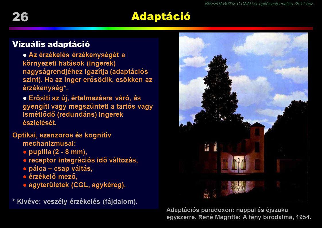 BMEEPAG0233-C CAAD és építészinformatika /2011 ősz 26 Adaptáció Vizuális adaptáció ● Az érzékelés érzékenységét a környezeti hatások (ingerek) nagyság