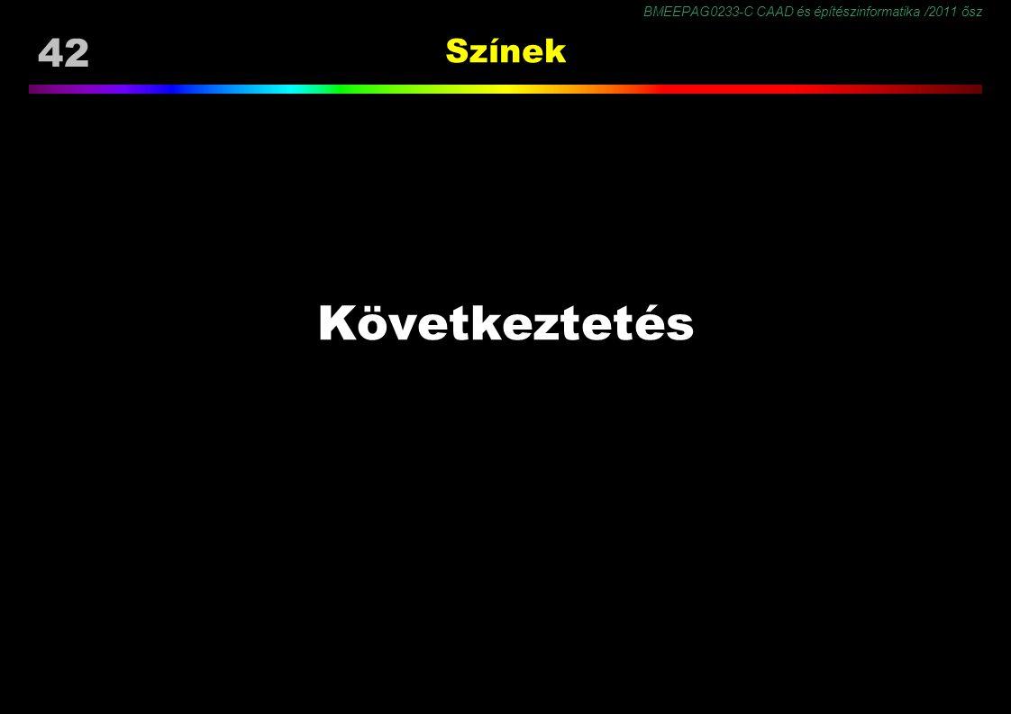 BMEEPAG0233-C CAAD és építészinformatika /2011 ősz 42 Színek Következtetés