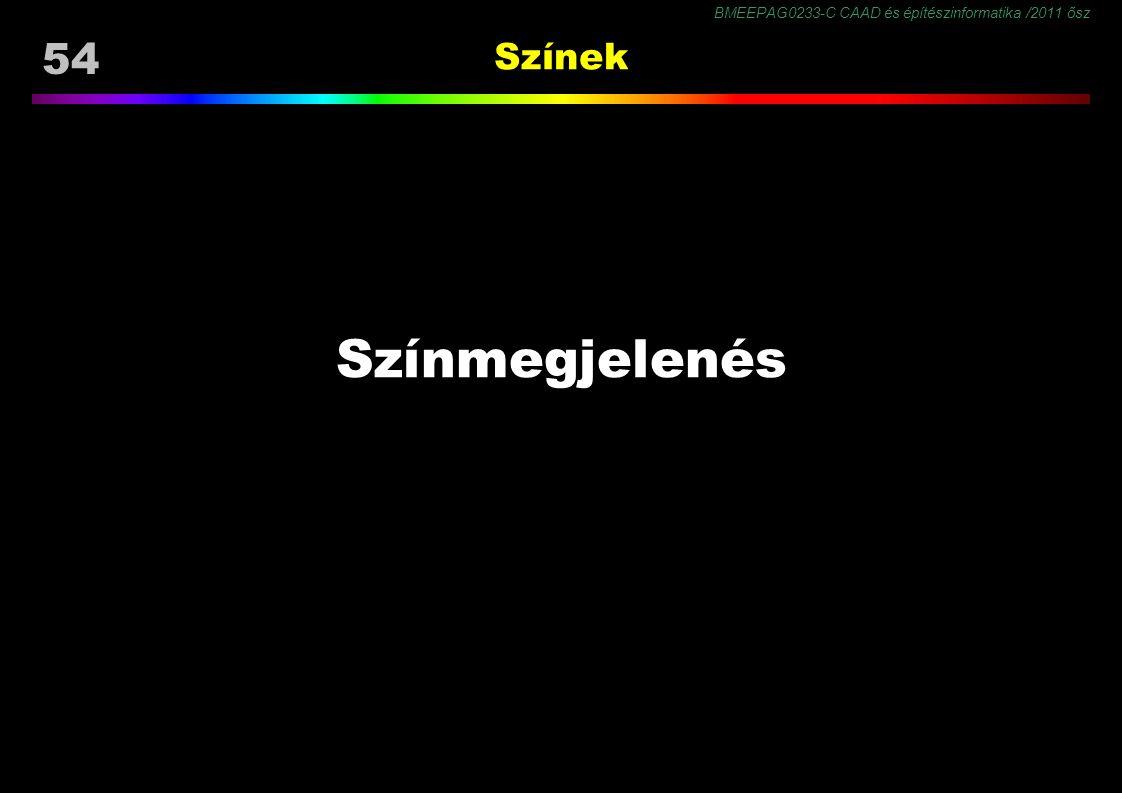 BMEEPAG0233-C CAAD és építészinformatika /2011 ősz 54 Színek Színmegjelenés