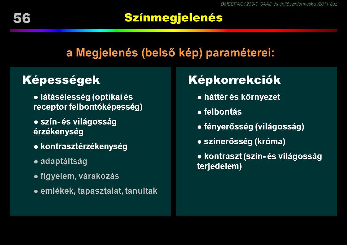 BMEEPAG0233-C CAAD és építészinformatika /2011 ősz 56 Színmegjelenés Képességek ● látásélesség (optikai és receptor felbontóképesség) ● szín- és világ