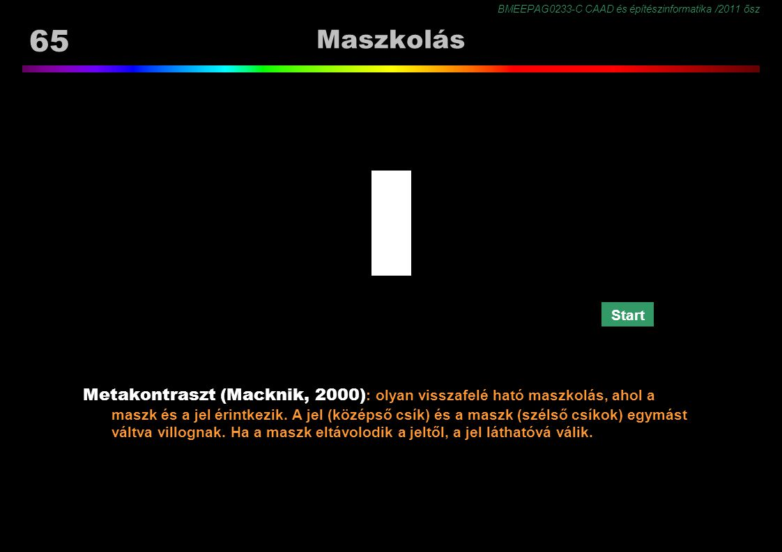 BMEEPAG0233-C CAAD és építészinformatika /2011 ősz 65 Maszkolás Metakontraszt (Macknik, 2000) : olyan visszafelé ható maszkolás, ahol a maszk és a jel