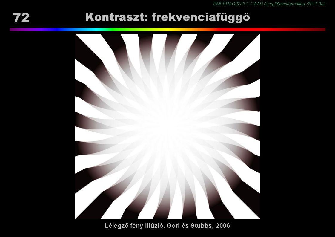 BMEEPAG0233-C CAAD és építészinformatika /2011 ősz 72 Kontraszt: frekvenciafüggő Lélegző fény illúzió, Gori és Stubbs, 2006