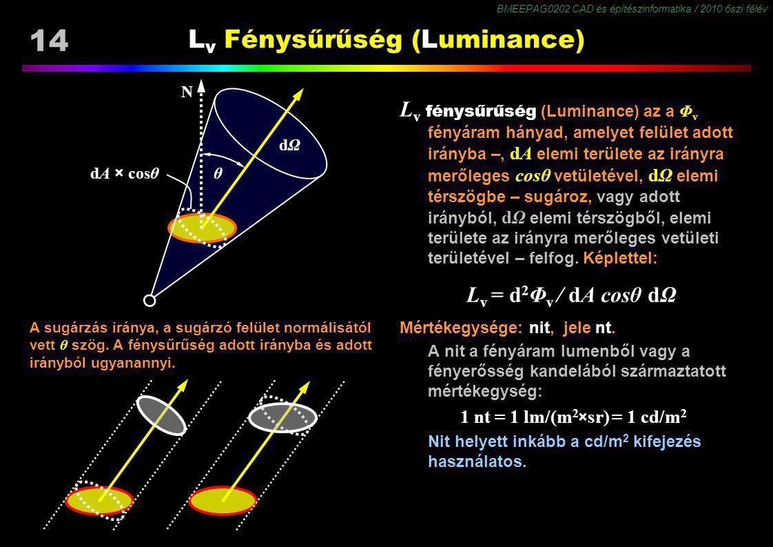 BMEEPAG0202 CAD és építészinformatika / 2010 őszi félév 14 L v Fénysűrűség (Luminance) L v fénysűrűség (Luminance) az a Φ v fényáram hányad, amelyet f