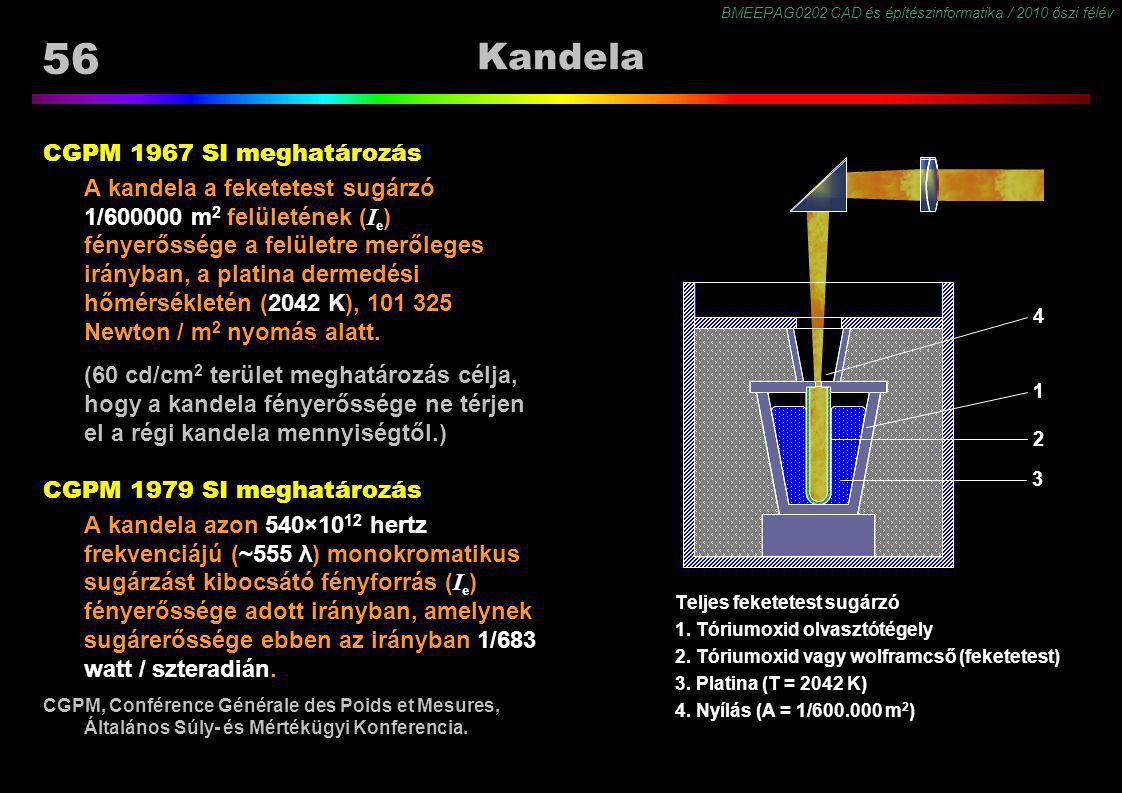 BMEEPAG0202 CAD és építészinformatika / 2010 őszi félév 56 Kandela CGPM 1967 SI meghatározás A kandela a feketetest sugárzó 1/600000 m 2 felületének (