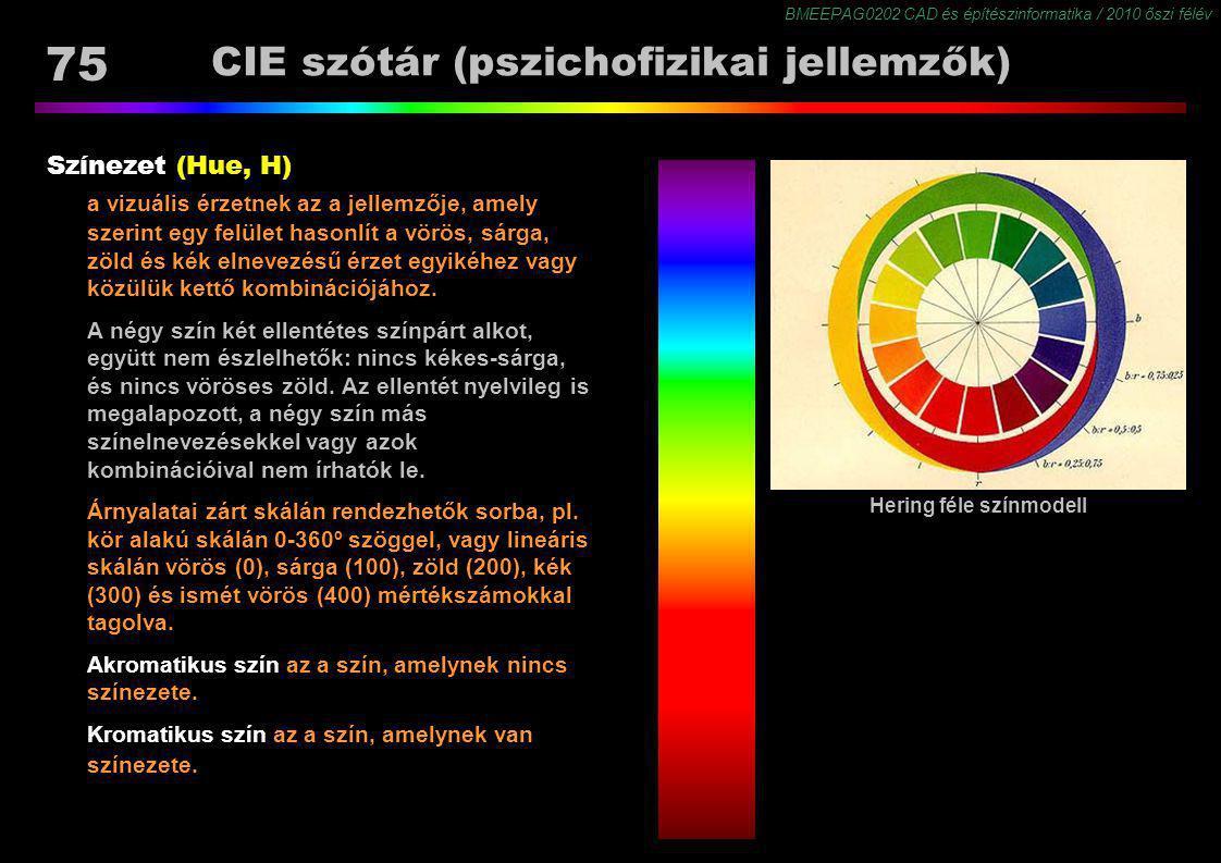 BMEEPAG0202 CAD és építészinformatika / 2010 őszi félév 75 CIE szótár (pszichofizikai jellemzők) Színezet (Hue, H) a vizuális érzetnek az a jellemzője