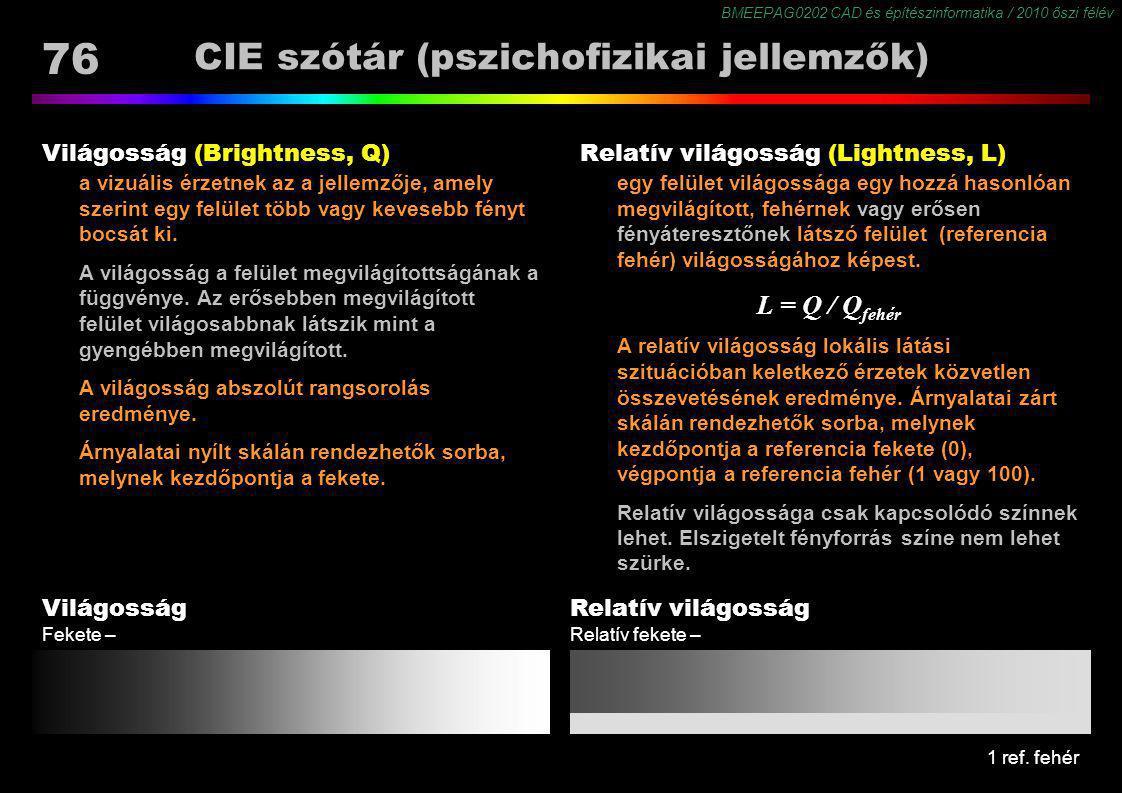 BMEEPAG0202 CAD és építészinformatika / 2010 őszi félév 76 CIE szótár (pszichofizikai jellemzők) Világosság (Brightness, Q) a vizuális érzetnek az a j