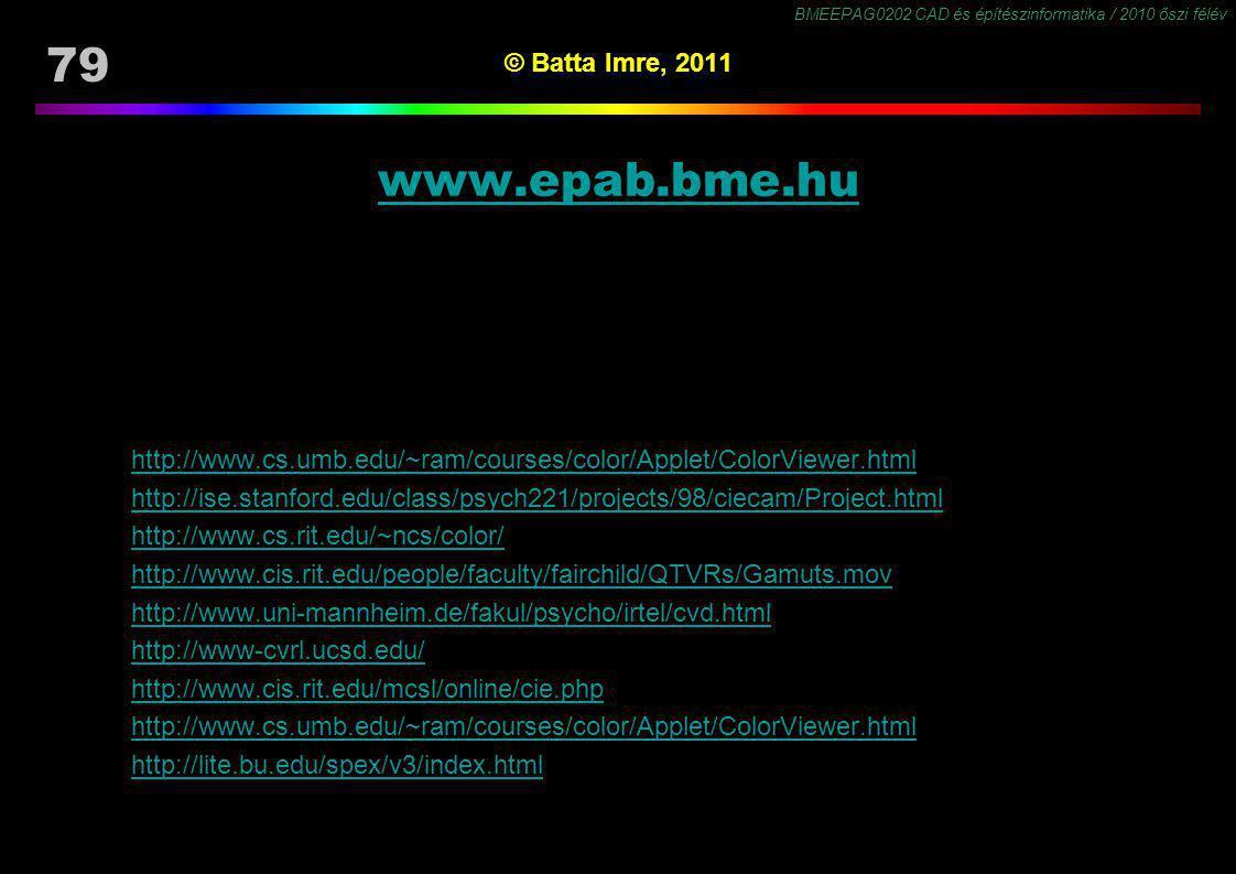 BMEEPAG0202 CAD és építészinformatika / 2010 őszi félév 79 © Batta Imre, 2011 www.epab.bme.hu http://www.cs.umb.edu/~ram/courses/color/Applet/ColorVie