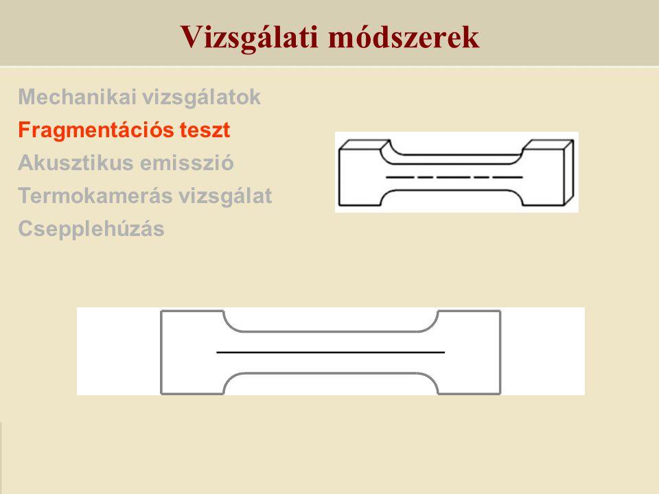 Mechanikai vizsgálatok Fragmentációs teszt Akusztikus emisszió Termokamerás vizsgálat Csepplehúzás Vizsgálati módszerek