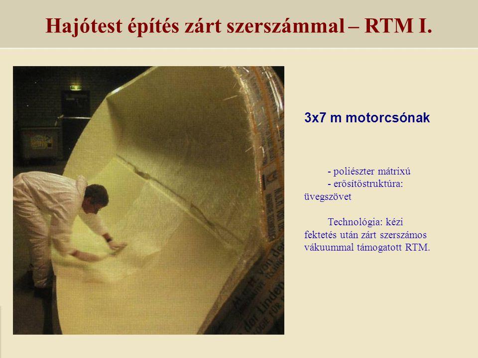 3x7 m motorcsónak Hajótest építés zárt szerszámmal – RTM I. - poliészter mátrixú - erősítőstruktúra: üvegszövet Technológia: kézi fektetés után zárt s