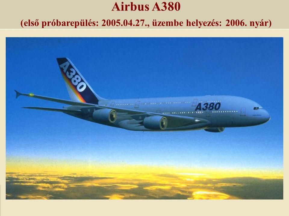 Airbus A380 (első próbarepülés: 2005.04.27., üzembe helyezés: 2006. nyár)